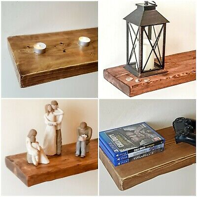 "8"" x 2"" Rustic Pine Distressed Floating Shelf Shelves Handmade Solid Wood wooden"
