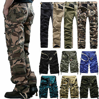 Men Camo Cargo Pants Camouflage Army Combat Military Work Trousers Casual Shorts