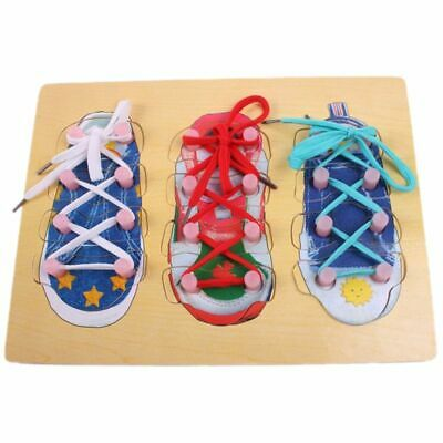Wooden Lacing Shoes Kids Educational Early Teaching How To Tie Shoelace Toy HOT