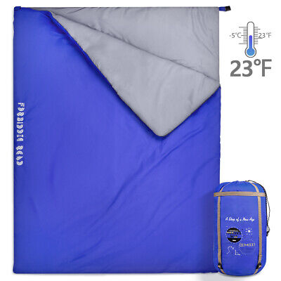 Sleeping Bag Bags Single/Double Camping Hiking -5°C /15°C Tent Winter Thermal