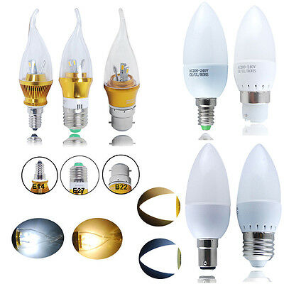 6/12X E14 E27 B22 B15 3W 5W 6W LED Candle Light Bulbs Spotlight Chandelier Lamp