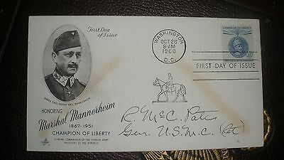General RANDOLPH McCALL PATE, 21st Commandant of the Marine Corps. Signed FDC