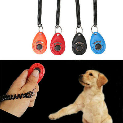 Dog Pet Puppy Cat Trai-ning Clicker Obedience Aid Wrist Click Button Trainer
