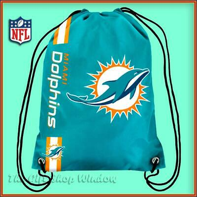Miami Dolphins Drawstring Crest Gym / Sports / School Bag Official Nfl New