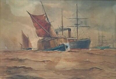 "William Daniel Penny, ""Shipping off Gravesend"" Original Watercolour Painting"