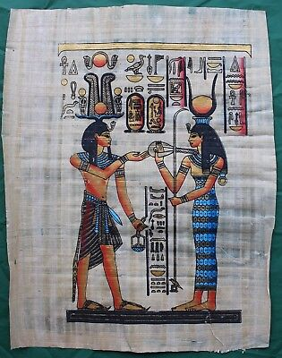 "Horus Isis Hand Painted Papyrus 33/""X13/"" Egyptian Book Of The Dead Thoth"