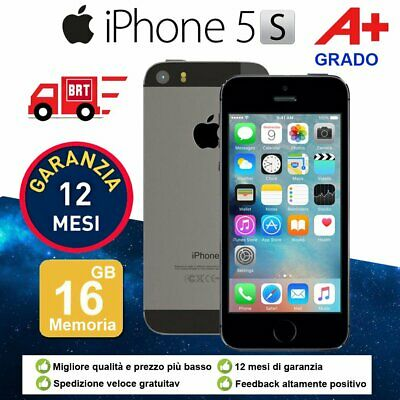 Grado A+ Apple Iphone 5S 16Gb Grigio Sideral Ios + Accessorie + Garanzia 12 Mesi