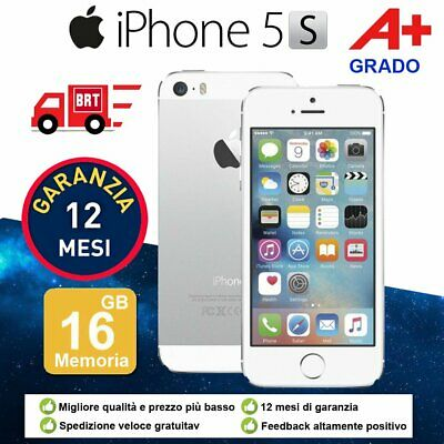Grado A+ Apple Iphone 5S 16Gb Argento Silver + Accessorie + Garanzia 12 Mesi It