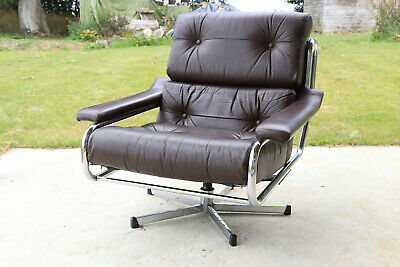 Vintage retro Danish brown leather chrome swivel armchair 60s 70s