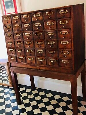 Serota vintage oak index filing cabinet
