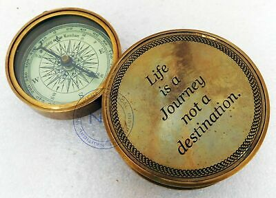 Vintage Antique Brass Compass /Paper Weight Flip Out Marine Compass Collectible