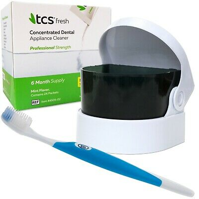 TCS, Sonic & Silicone Toothbrush ~ 24 Weekly Sachets, Flexible Dentures Cleaner