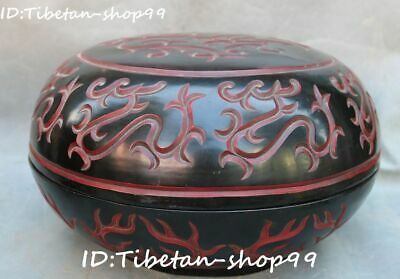 Old China Wood Lacquerware Carving Qing Dynasty Dragon Beast Storage Box Casket