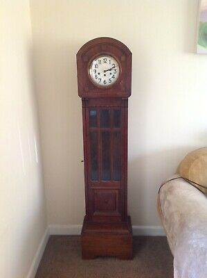 Longcase Grandmother Clock.1920 -Art deco design.oak and oak veneer case