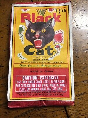 Black Cat Label Super Charged Flashlight Crackers Firecracker/ Vintage NoBarcode