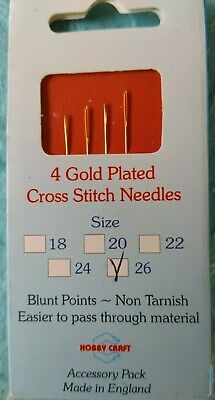 GOLD PLATED NEEDLES  Size 26 Blunt Ended for Cross Stitch