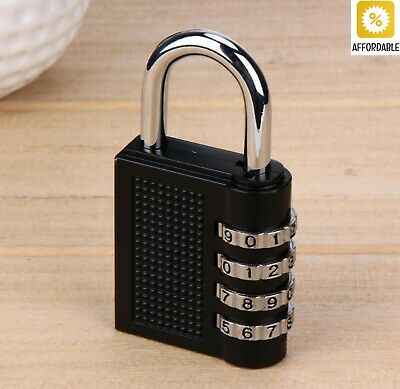 Code Padlock 4 Dial Digit Password Lock Combination Suitcase Luggage Metal Alloy
