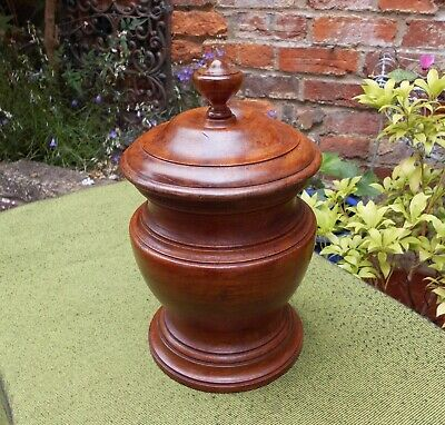 Lovely Treen Solid Mahogany Vintage Turned Lidded Vase~Container~Urn~Cannister