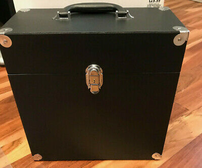 """JACK & CABLE Vinyl Record Case for 12"""" LPs Albums - Black/Silver (Imperfect)"""