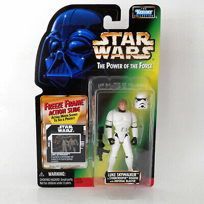 Star Wars Potf2: Freeze Frame Luke Stormtrooper Disguise (1996) 3.75 Hasbro Mosc