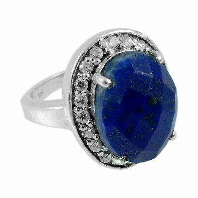 Faceted-Lapis Lazuli Solid 925 Sterling Silver Ring  Jewelry Size-7 FSR-3055