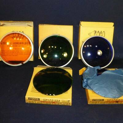 5 Vintage Stonco Lensholder & Color Lenses #47 - Blue, Green, Amber