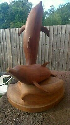 Large Wooden Dolphins Carving Sculpture Statue ~ one off, folk art