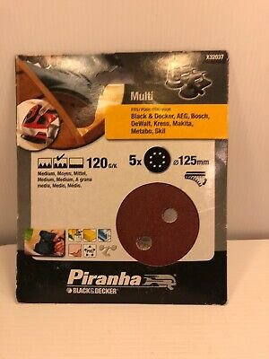 piranha black & decker sanding discs 5x 125mm 120gk x32037
