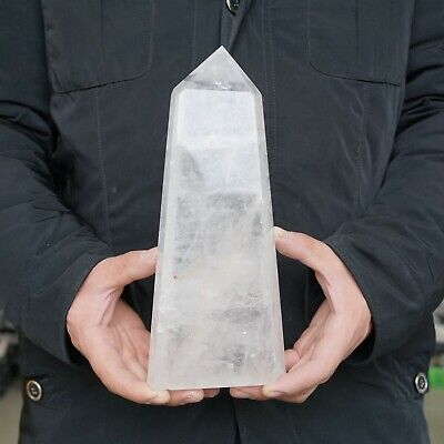 """5.26LB 9.8"""" Natural Clear White Quartz Crystal Point Tower Polished Healing"""