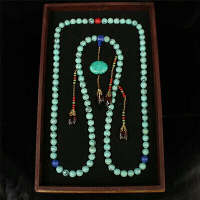 """Collect China Turquoise bead Official clothing""""Chao-Zhu""""necklace lacquerware Box"""