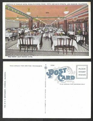 Old California Postcard - Los Angeles - Hotel Rosslyn Dining Room, Restaurant