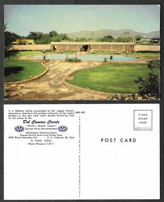 Old Texas Postcard - El Paso - Del Camino Courts - Swimming Pool