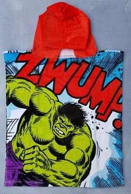 Official Marvel Avengers Hulk Velour Cotton Hooded Poncho Towels Boys Gift 2-6 Y