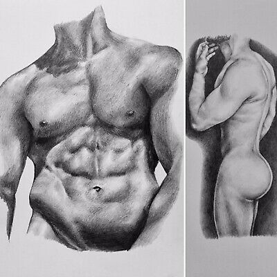 *Double Drawing Offer* A4 Pencil Drawings Nude Man Portrait Gay Interest
