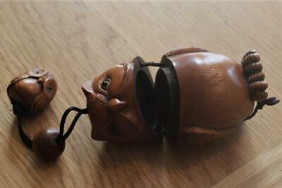 Carved & Signed Inro Of Large Owl With Single Ojime Bead & Netsuke In Fruit Wood