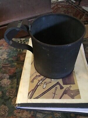 Civil War Rare Tin Large Mess Cup With Wires On Handle Flat Bottom Mid 19th Cent