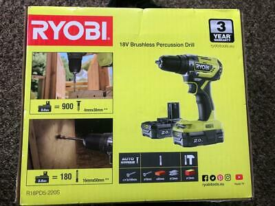 Ryobi R18PD5-220 ONE+ Cordless 18V Brushless Drill 2 Batteries 2Ah + Charger NEW