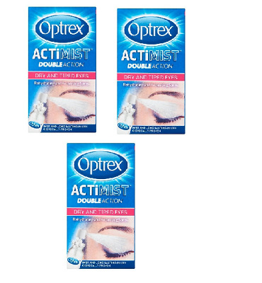 3 X 10ml Optrex Double Action Actimist Spray For Dry & Tired Eyes