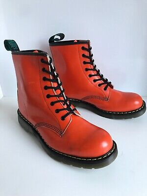 Solovair 2376 (1460) Orange Leather 8 Eyes Lace Up Derby Boots UK9 EU43 *England