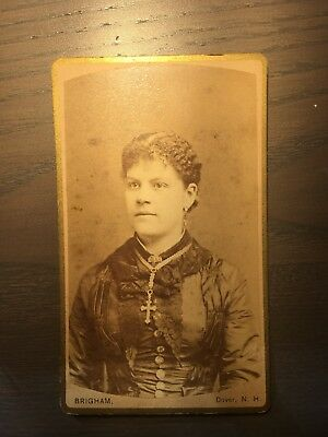 VINTAGE CDV CARTE DE VISITE OF A Woman By BRIGHAM, Dover, NH Stunning Jewelry