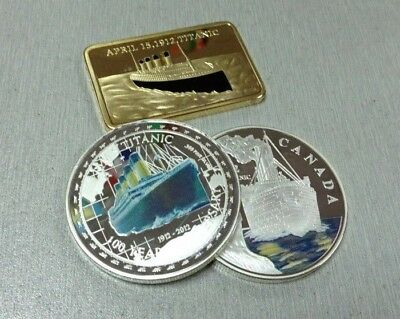 3 Pc Rms Titanic Novelty Gold Silver Bar And Coins Full Set New Never Forget Uk