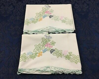 Pair of Vintage Pillow Tubing Pillowcases Embroidered Leaves Crochet Trim PC68