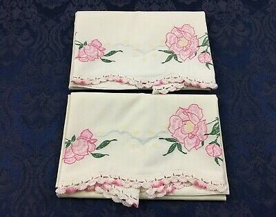 Pair of Vintage Pillow Tubing Pillowcases Embroidered Flowers Crochet Trim PC66