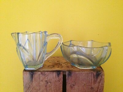 Vintage 50's retro look glass cut pale blue milk jug sugar bowl dish set glass