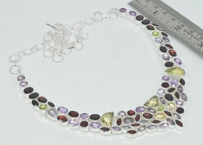 925 Silver Plated Natural Cut Red Garnet And Mix Multi Stone Necklace Cm560