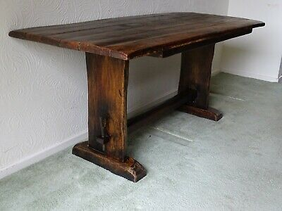 Antique Solid Oak Six Plank Farmhouse Dining Table