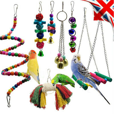 7 Pcs/Pack Beaks Toy Metal Rope Small Parrot Budgie Cockatiel Cage Bird Toys Uk