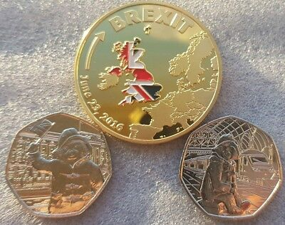 2 × Paddington bear 50p coins @ station & The Palace. 2018 50P Pence. + Brexit.