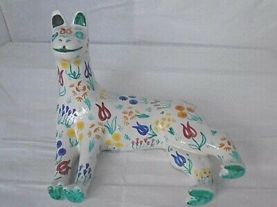 MID CENTURY vintage CASTELLO BALDELLI POTTERY CAT hand painted signed ITALY 868