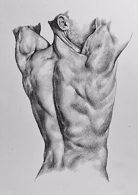 A4 Figurative Art Pencil Drawing Nude Man Portrait Gay Interest